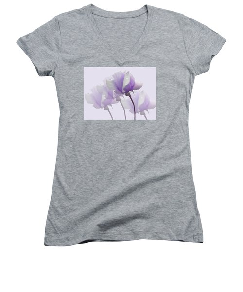 Lavender Roses  Women's V-Neck T-Shirt