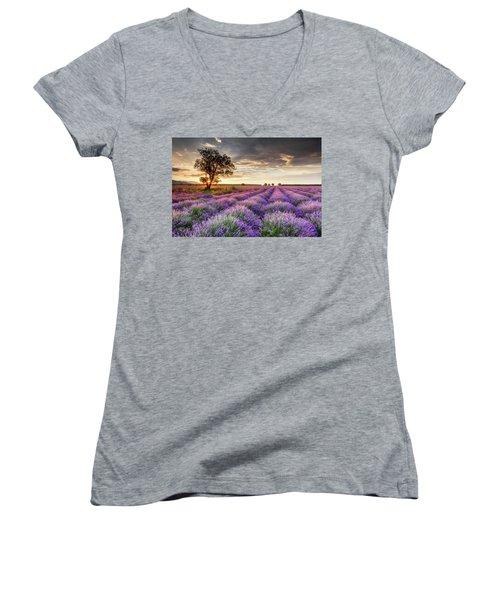 Lavender Sunrise Women's V-Neck
