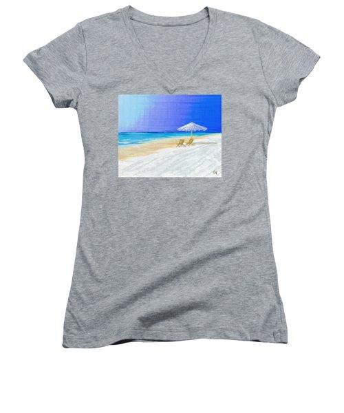 Lawn Chairs In Paradise Women's V-Neck T-Shirt (Junior Cut) by Jeremy Aiyadurai