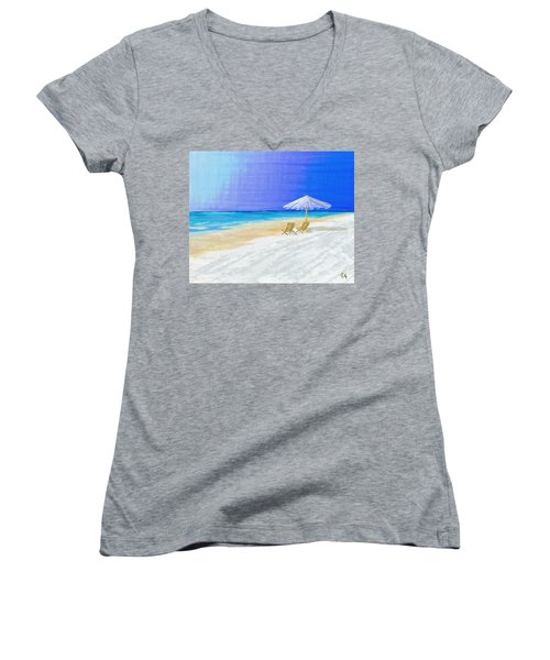 Lawn Chairs In Paradise Women's V-Neck (Athletic Fit)