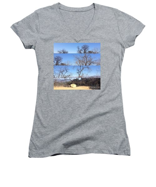 Women's V-Neck T-Shirt (Junior Cut) featuring the photograph Layered Perspectives by Nora Boghossian