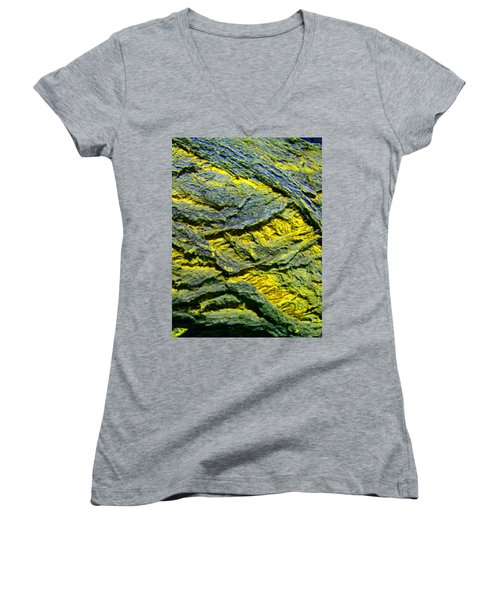 Women's V-Neck T-Shirt (Junior Cut) featuring the photograph Layers In Blue And Yellow by Lenore Senior