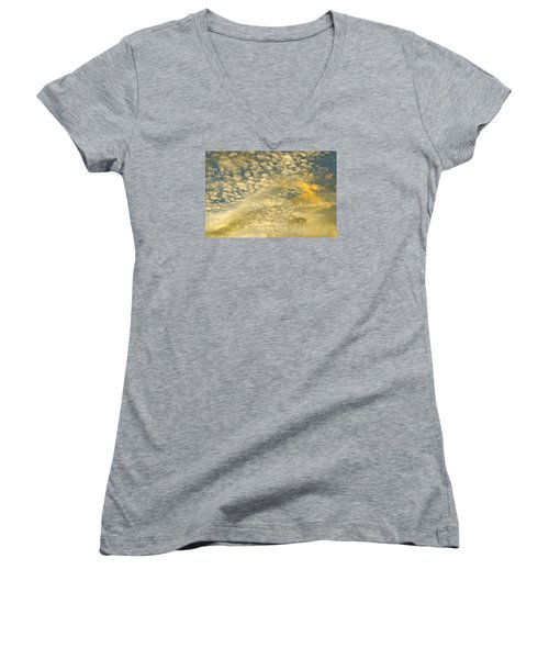 Women's V-Neck T-Shirt (Junior Cut) featuring the photograph Layers Of Sky by Wanda Krack