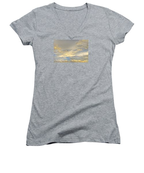 Women's V-Neck T-Shirt (Junior Cut) featuring the photograph Layers by Wanda Krack