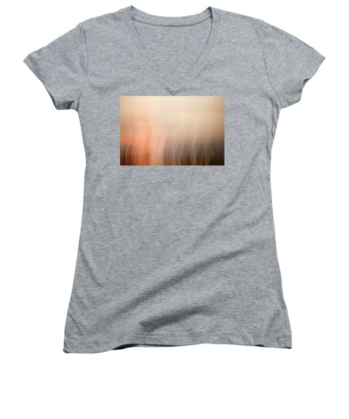 Women's V-Neck T-Shirt (Junior Cut) featuring the photograph Laying Low At Sunrise by Marilyn Hunt