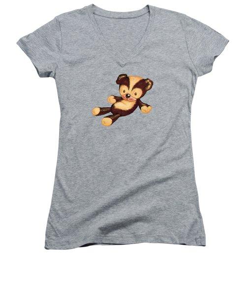 Lazy Bear Women's V-Neck T-Shirt (Junior Cut) by Andy Catling