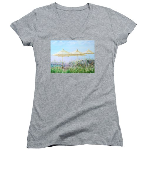 Women's V-Neck T-Shirt (Junior Cut) featuring the painting Lazy Days Of Summer by Barbara Anna Knauf