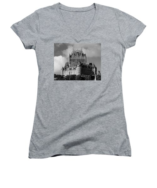 Le Chateau Frontenac - Quebec City Women's V-Neck T-Shirt (Junior Cut) by Juergen Weiss