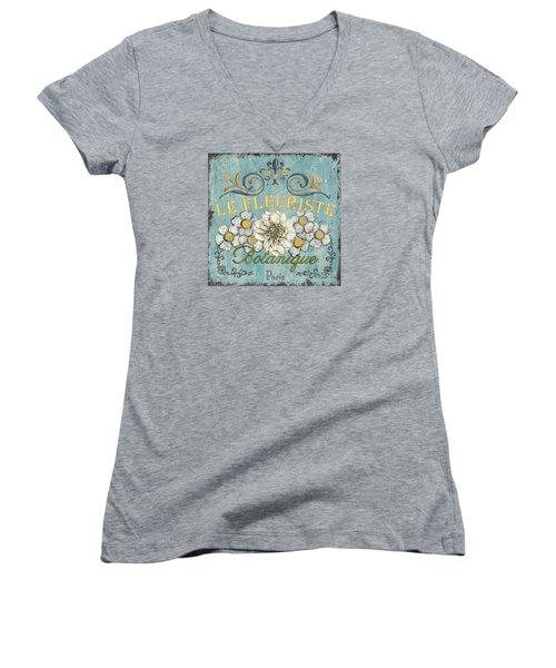 Le Fleuriste De Botanique Women's V-Neck T-Shirt (Junior Cut) by Debbie DeWitt