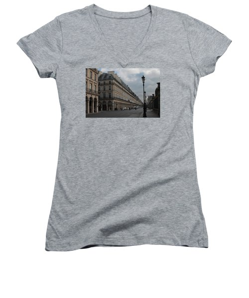 Women's V-Neck T-Shirt (Junior Cut) featuring the photograph Le Meurice Hotel, Paris by Christopher Kirby