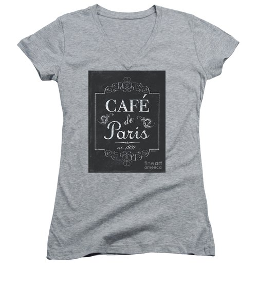 Women's V-Neck T-Shirt (Junior Cut) featuring the painting Le Petite Bistro 3 by Debbie DeWitt