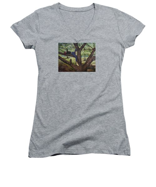 Women's V-Neck T-Shirt (Junior Cut) featuring the painting Lea Henry And The Henry Tree by Ron Richard Baviello