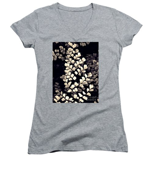 Leaf Abstract 15 Sepia Women's V-Neck T-Shirt (Junior Cut) by Sarah Loft