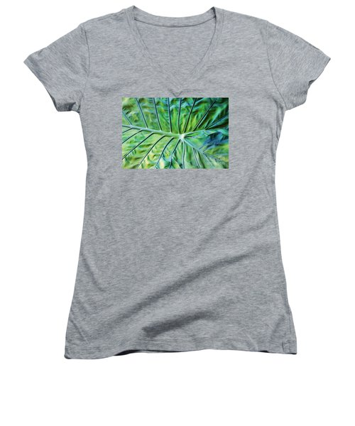 Leaf Pattern Women's V-Neck T-Shirt (Junior Cut)