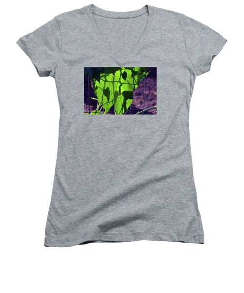 Leaf Shadows Women's V-Neck (Athletic Fit)