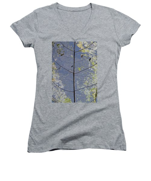 Women's V-Neck featuring the photograph Leaf Structure by Debbie Cundy