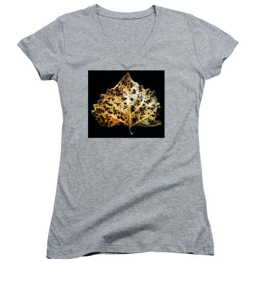 Leaf With Green Spots Women's V-Neck T-Shirt (Junior Cut) by Joseph Frank Baraba
