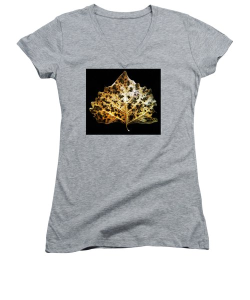 Leaf With Green Spots Women's V-Neck T-Shirt