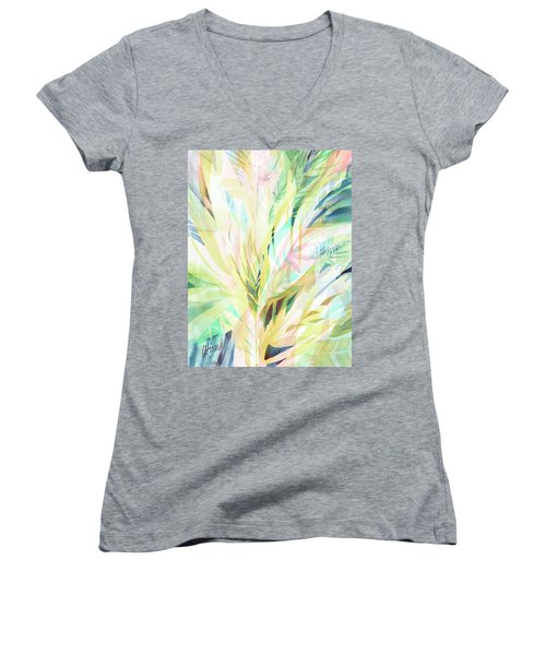 Women's V-Neck featuring the painting Leafy Flora by Carolyn Utigard Thomas