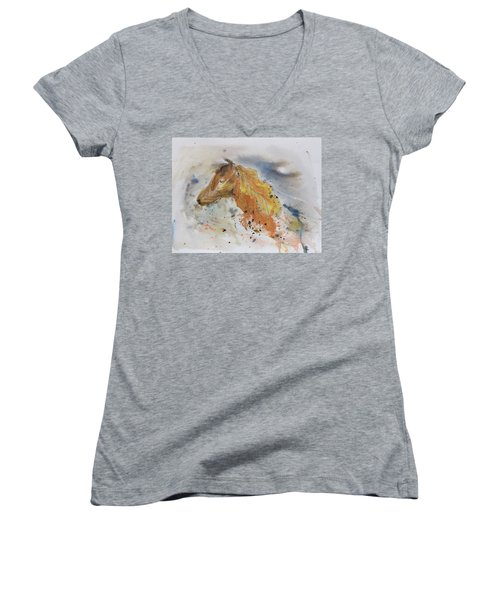 Leafy Horse Women's V-Neck (Athletic Fit)
