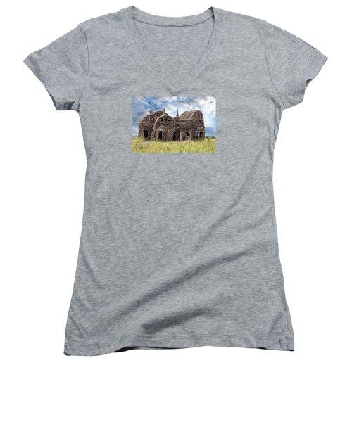 Lean On Me - Stick House Series 1/3 Women's V-Neck T-Shirt (Junior Cut) by Patti Deters