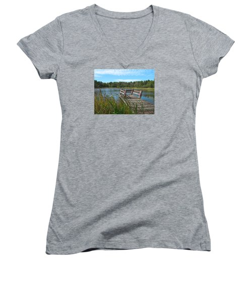 Leaning Pier At Pine Lake Women's V-Neck T-Shirt (Junior Cut) by Cedric Hampton
