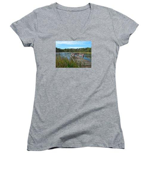 Leaning Pier At Pine Lake Women's V-Neck T-Shirt
