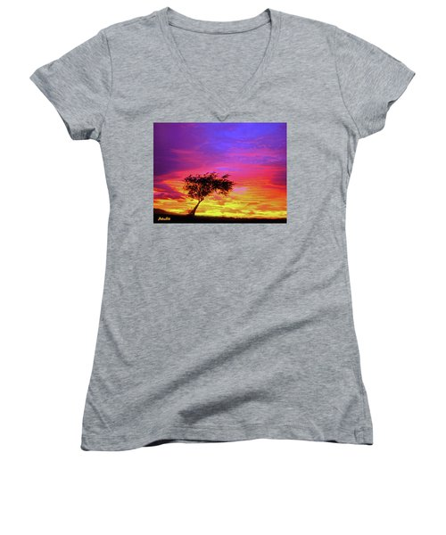 Leaning Tree At Sunset Women's V-Neck (Athletic Fit)