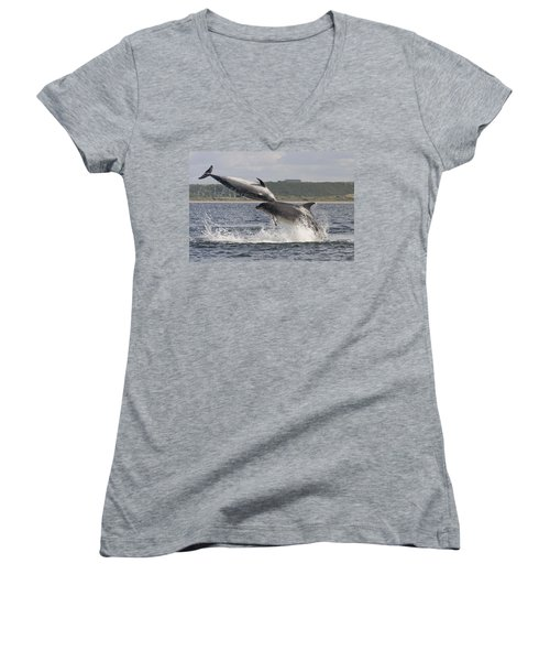 Leaping Bottlenose Dolphins - Scotland  #38 Women's V-Neck (Athletic Fit)