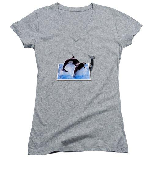 Leaping Orcas Women's V-Neck T-Shirt