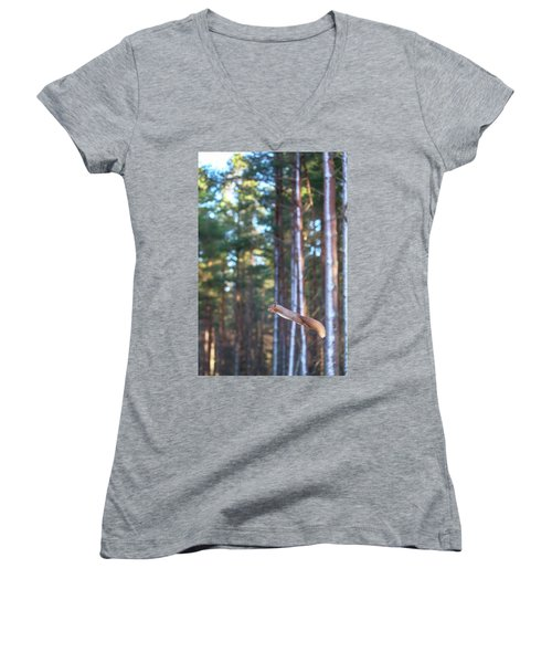 Leaping Red Squirrel Tall Women's V-Neck