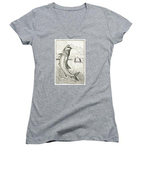 Leaping Tarpon Women's V-Neck T-Shirt (Junior Cut) by Charles Harden