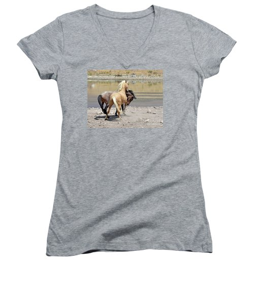Learning To Fight Women's V-Neck T-Shirt (Junior Cut) by Lula Adams