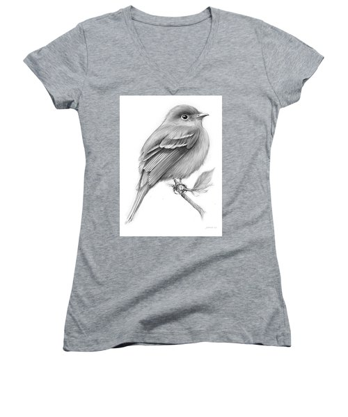 Least Flycatcher Women's V-Neck T-Shirt (Junior Cut) by Greg Joens