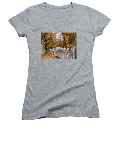 Women's V-Neck T-Shirt (Junior Cut) featuring the photograph Leaves Along The Fence by Lois Lepisto