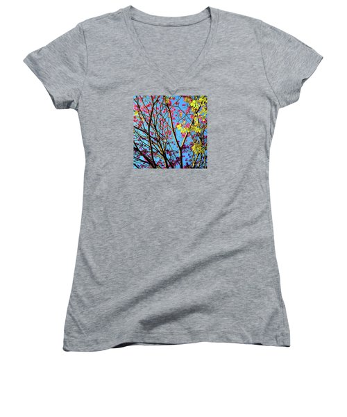 Leaves And Trees 980 Women's V-Neck