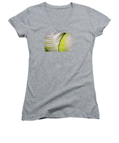 Leaves In White Women's V-Neck