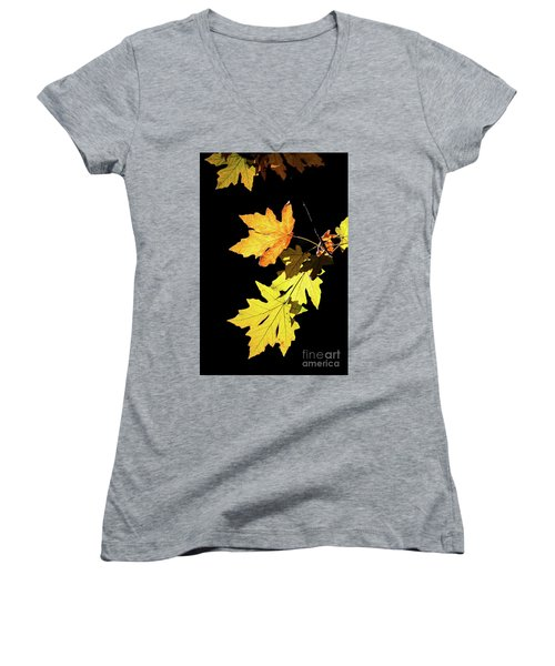 Leaves On Black Women's V-Neck T-Shirt