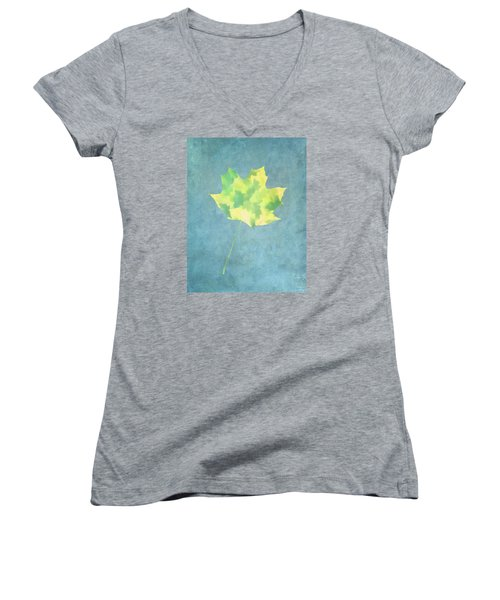 Leaves Through Maple Leaf On Texture 1 Women's V-Neck T-Shirt (Junior Cut) by Gary Slawsky