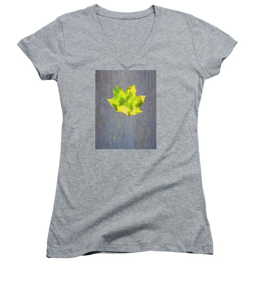 Leaves Through Maple Leaf On Texture 2 Women's V-Neck T-Shirt (Junior Cut) by Gary Slawsky