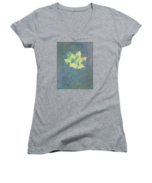 Leaves Through Maple Leaf On Texture 3 Women's V-Neck T-Shirt (Junior Cut) by Gary Slawsky