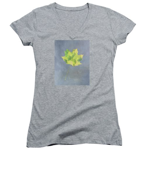 Leaves Through Maple Leaf On Texture 4 Women's V-Neck T-Shirt (Junior Cut) by Gary Slawsky