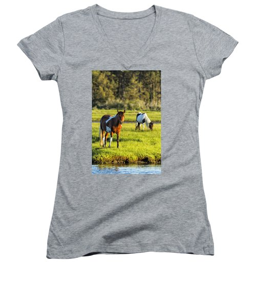 Leaving The Chincoteague Ponies Women's V-Neck (Athletic Fit)
