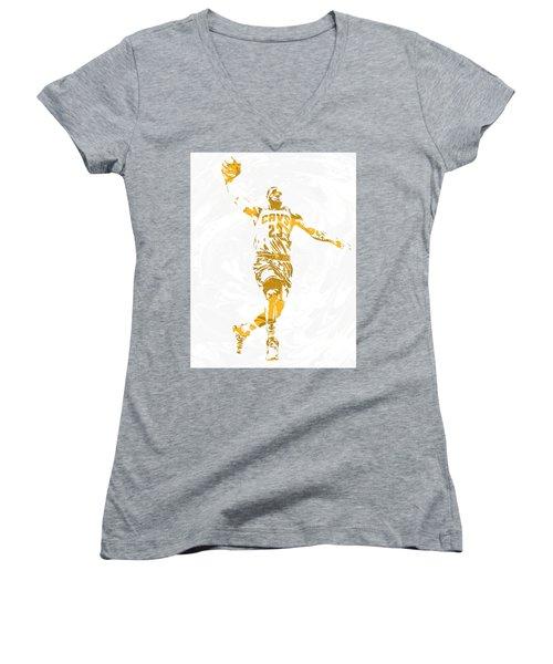 Lebron James Cleveland Cavaliers Pixel Art 12 Women's V-Neck T-Shirt