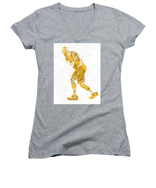 Lebron James Cleveland Cavaliers Pixel Art 13 Women's V-Neck T-Shirt