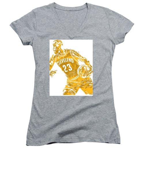 Lebron James Cleveland Cavaliers Pixel Art 20 Women's V-Neck T-Shirt