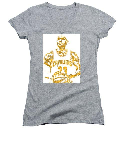 Lebron James Cleveland Cavaliers Pixel Art 8 Women's V-Neck T-Shirt