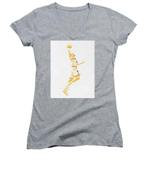 Lebron James Cleveland Cavaliers Pixel Art Women's V-Neck T-Shirt (Junior Cut) by Joe Hamilton