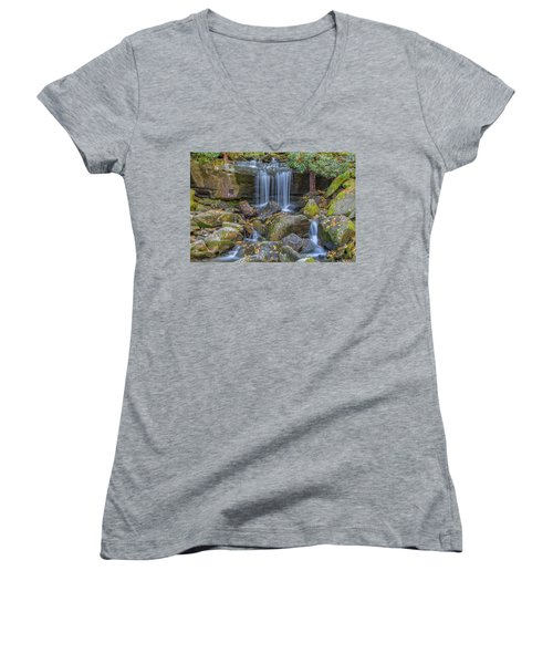 Leconte Creek Waterfall 2 Women's V-Neck (Athletic Fit)