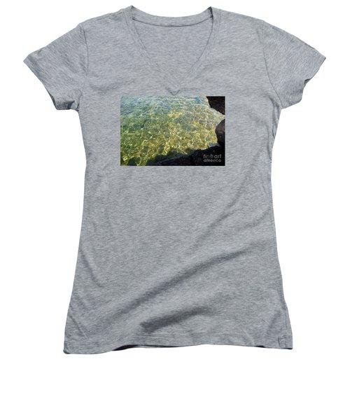 Ledge View Ripples Women's V-Neck T-Shirt (Junior Cut) by Sandra Updyke